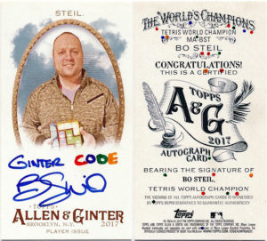 Bo Steil 2017 Topps Allen and Ginter Mini Autographs #MA-BST Code Card