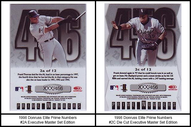1998 Donruss Elite Prime Numbers Executive Master Set Edition Baseball Cards