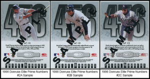 1998 Donruss Elite Prime Numbers Sample Baseball Cards