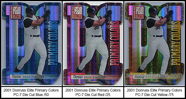 2001 Donruss Elite Primary Colors Die Cut Baseball Cards