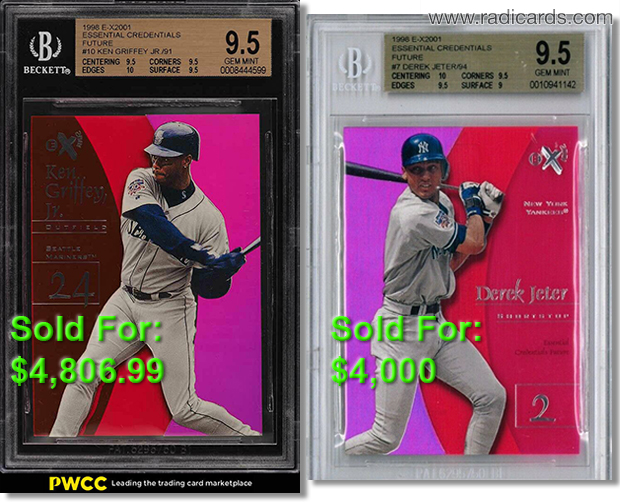 Ken Griffey Jr. and Derek Jeter 1998 E-X2001 Essential Credentials Future