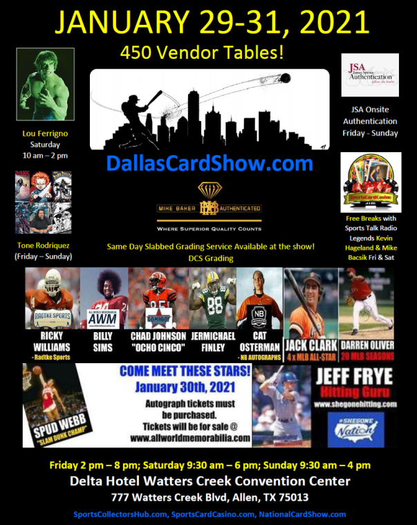 Dallas Card Show   January 29-31, 2021   Event Flyer