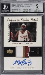 LeBron James 2003-04 Exquisite Collection #78 Rookie Patch Parallel /23 BGS 9