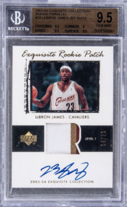 LeBron James 2003-04 Exquisite Collection #78 Rookie Patch Parallel /23 BGS 9.5