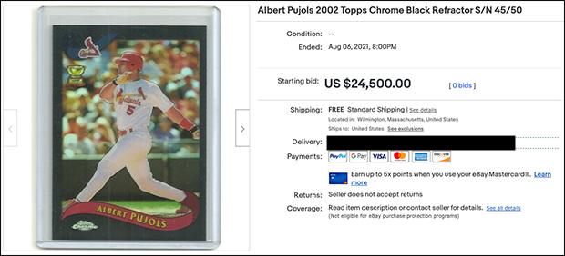 Albert Pujols 2002 Topps Chrome #160 Black Refractor /50