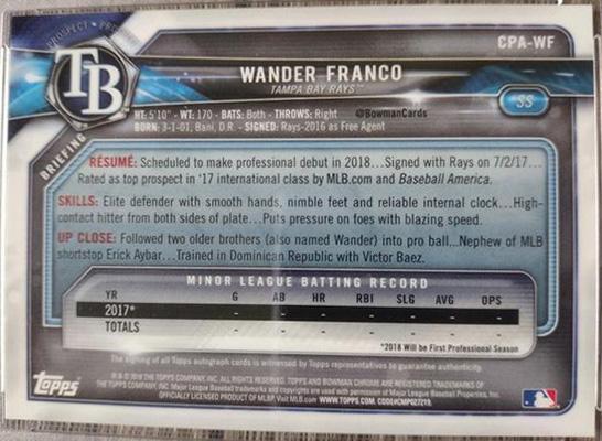 Wander Franco 2018 Bowman Chrome Prospect Autographs #CPA-WF Prototype