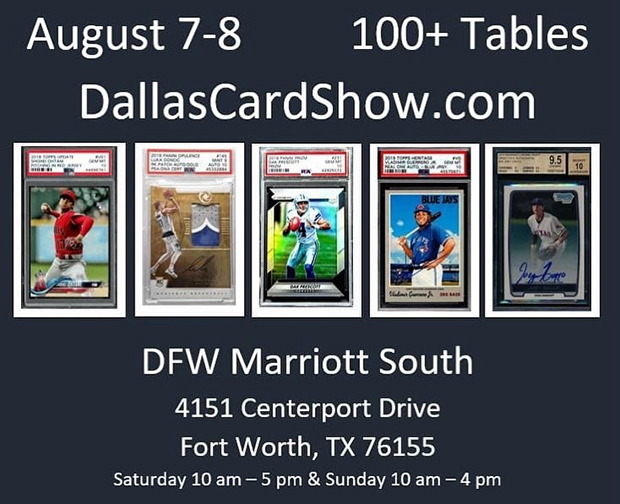 Dallas Card Show August 7-8 2021 Event Flyer